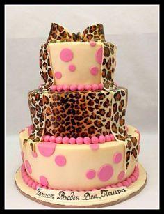 Leopard print and polka dots cake