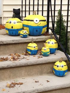 Minion pumpkins for a minion-themed October birthday party!