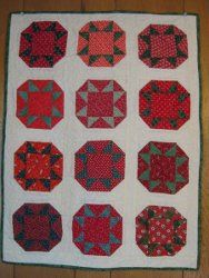 Use half square triangles to make these fruity quilt blocks for a mini quilt.