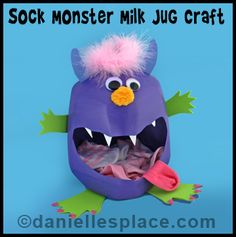 Sock Monster Milk Jug Craft Kids Can Make from www.daniellesplace.com