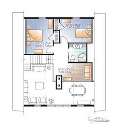 Plan de Maison unifamiliale W3938-V1 (dessins drummond) Partie cathédrale comme on veut, mais on pourrait couvrir la partie ouverte sur la salle à manger pour faire une chambre de plus à l'étage. Salle de bain pas assez grande. Voir l'image de la façade. J'aime les grandes fenêtres!!