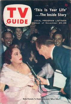 """Bebe Daniels and Ralph Edwards of """"This Is Your Life""""  November 20-26 1954"""