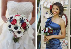4th of July Wedding Bouquet! And beautiful blue bridesmaid dress
