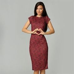 Miso Red Leopard Midi Dress Ladies - SportsDirect.com fashion dresses, midi dress, ladies fashion, leopard midi, dress 800, red leopard, miso dress, dress ladi