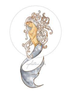 art nouveau mermaid original art print 8.5x11 by aphotica on Etsy, $11.00