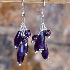 Amethyst Handmade Cluster Earrings Purple Gemstone OOAK Jewelry Beaded
