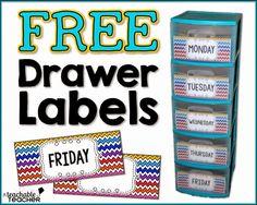 teacher freebies, free drawer, drawer labels