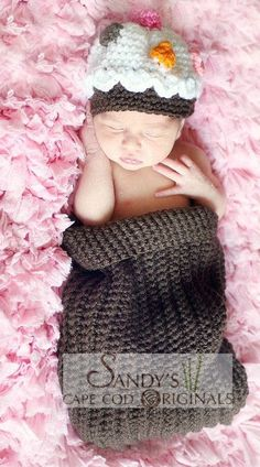 Cupcake Crochet Pattern Cocoon and beanie Set PDF: instant download.  SandysCapeCodOrig@ etsy.com