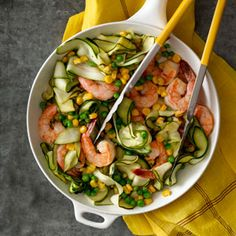 "Zucchini ""Pasta"" with Shrimp | MyRecipes.com #myplate #vegetables #protein"