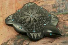 Zuni Turtle Fetish created by Zuni Artist Jonathan Natewa. http://www.treasuresofthesouthwest.com/zuni-indian-fetishes.html