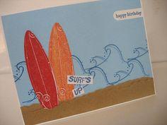 Surfs Up Beach Birthday Card for guy/male/teen boys
