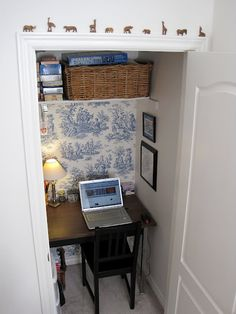 Cloffice.  {I have this wallpaper in my kitchen!}