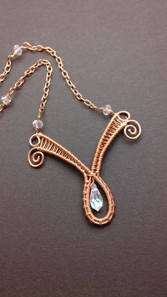 teardrop Swarovski wire wrapped copper necklace by 2wired on Etsy, $38.00