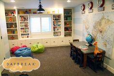 basement lighting, clock, playroom, map, basement rooms