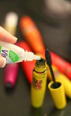 {TIP} MAKE MASCARA LAST 3X LONGER!! //  A typical mascara dries out before half of it is used. When your favorite mascara starts getting dry, add 4-5 drops of saline solution or eyedrops to the bottle. Insert your wand and stir and TA-DA!! Fresh mascara! This can be repeated 2 or 3 times until all you mascara is gone.