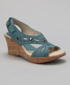 Look at this #zulilyfind! Denim Blue Mercury Wedge #zulilyfinds