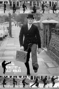 Monty Python, Ministry of Silly Walks. Oh John Cleese, your serious face is legendary.