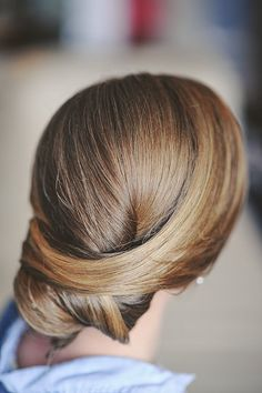 Low Draped Bridal hair.  Photo from Anne+Joe's Wedding collection by Alyssa Maloof Photography