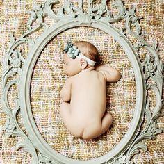 Cute baby photo idea @ Sara    Please 'Like', 'Repin' and 'Share'! Thanks :) infant photos, infant photography, newborn photo, infant photographi, babi girl, picture frames, photo idea, baby photos, babi photo