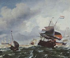 This is a painting by Ludolf Backhuysen. [Dutch Baroque Era Painter, ca.1631-1708] It represents the historical time period of The Tempest, which was believed to be written around the 1600s.