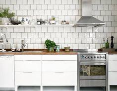 open shelving/tile/butcher block