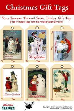 Snowman Holiday Gift Tags {free printable} ~ Sweet vintage snowman postcard series for Christmas holiday gift tags. #free #printable #Christmas #holiday #tags