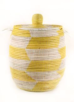 Large Senegalese Lidded Basket/Hamper in Yellow for shoes, toys and stuff