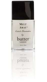 butter LONDON - Cuticle Remover – Melt Away Cuticle Eliminator By using Melt Away weekly, you can literally 'TRAIN' your cuticles to behave! Gentle cuticle exfoliation will gradually decrease cuticle size and hardness, until they are constantly thin, soft, and easy to deal with.  I need to use it weekly, keep forgetting