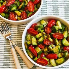 This simple Salad with Cucumbers, Tomatoes, Onions, Avocado, and Balsamic Vinegar has turned into something I make over and over every summer! [from Kalyn's Kitchen] #LowCarb #GlutenFree #SouthBeachDiet #Paleo #Whole30