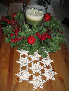 Crochet Snowflake Table Runner
