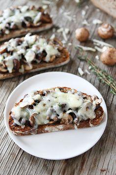 Roasted Mushroom and Gruyere Toasts on twopeasandtheirpod.com