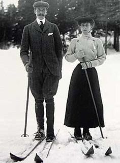 King Haakon and Queen Maud skiing. Maud was a member of the British Royal Family as the youngest daughter of Edward VII and Alexandra of Denmark and granddaughter of Queen Victoria and also of Christian IX of Denmark. She was the younger sister of George V. Princess Maud of Wales was the first queen consort of Norway since 1380 who was not also queen consort of Denmark or Sweden.