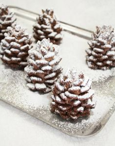 Snowy Chocolate Pinecones (made from nutella and cereal) - so cool! A pretzel stick is in the middle…add the nutella mixture and then stick dry cereal around it to look like pinecones:)