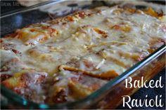 Easy Baked Ravioli Recipe and picture tutorial #Recipe #EasyDinnerDish #Ravioli