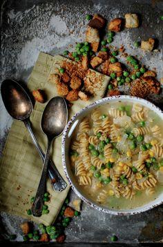 Pea, bean, and noodle soup