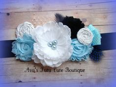 Blue and white baby boy maternity sash by AvasTutuCuteBoutique, $32.50