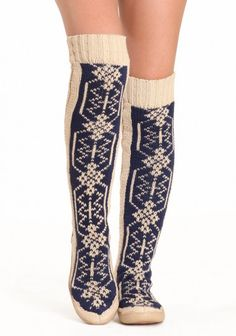 Gypsyz Snowflake knitted knee high shoes