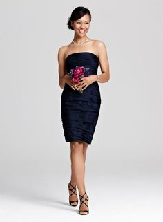 Navy ML Monique Lhuillier Ruched Chiffon Sheath
