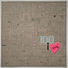 100 things I love. scrapbook journal, art journal, scrapbookproject life, scrapbook inspir, craft, journalsmash book, scrapbook idea, 100 thing, scrapbook sketch