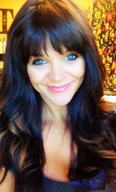 blue peekaboo highlights on dark hair | Peek a boo highlights, hair color, bangs! Dark hair