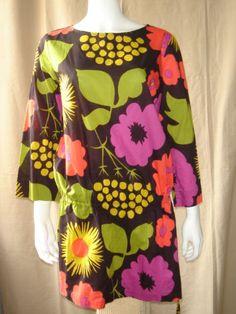 MARIMEKKO-L-Mika-Piirainen-Brown-Pink-Abstract-Draw-String-Tunic-Top-Mini-dress