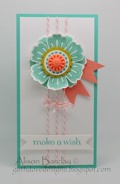 """Stamps - Mixed Bunch, Sweet Essentials Ink - Coastal Cabana, Bermuda Bay Cardstock - Coastal Cabana, Whisper White, Crisp Canteloupe, Summer Starfruit Accessories - Calypso Coral Bakers Twine, In Color Boutique Details Tools - Stampin' Trimmer, SNAIL, Stampin' Dimensionals, Glue Dots, 1"""" square punch (to flag ends of banners), 1 1/4 scallop circle punch, 1 inch circle punch, Blossom Punch"""