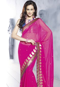Pink Faux Chiffon Saree with Blouse @ $53.03