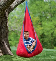 HugglePod Indoor/Outdoor Deluxe Canvas Hanging Chair ($129.00) A slightly wider, roomier version of the HugglePod, the HugglePod Deluxe Indoor/Outdoor Canvas Hanging Chair offers extra comfort for older children or just a little extra space for smaller kids to snuggle.  Made from sturdy cotton canvas that's machine washable. It's perfect for indoor and outdoor use. Full removable cushion that features comfy polyfill made from recycled water bottles.