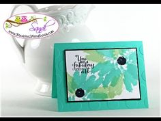 Stampin' Up! cardmaking video from Sandi MacGiver:Work of Art Daisy Card ... luv the colors and off the edge stamping ... clever use of the brush strokes stamp ...