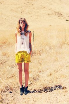 bright shorts + white tank + boots #fashion