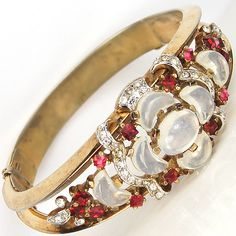 Trifari 'Alfred Philippe' 'Clair de Lune' Variant Moonstone and Ruby Bangle Bracelet
