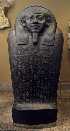 Sarcophagus of Horkhebit, Late Period, Dynasty 26, ca. 590 b.c.  Egyptian; From Saqqara  Basalt