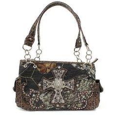 Brown Mossy Oak Camouflage Handbag with Rhinestone Cross