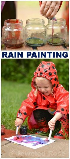 Make paint using rain as one of the ingredients and then use it to paint in the rain; a super fun activity for a rainy day! {Don't just paint in the rain; paint WITH rain!}